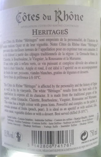 Ogier Cotes de Rhone Heritages Blanc