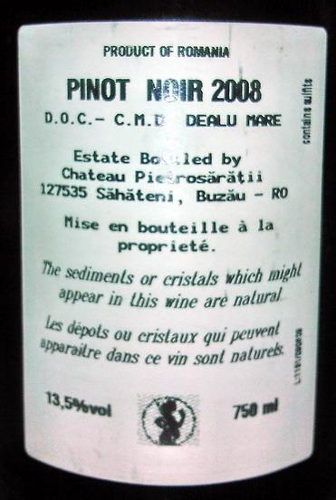 Pinot Noir Crai Nou Back