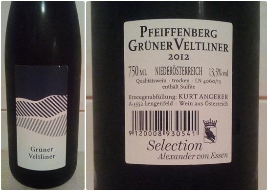 Kurt Angerer Gruner Veltliner Pfeiffenberg 2012